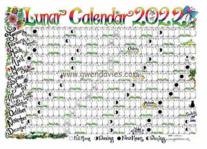 Moon Calendar 2022 A4 wall chart planner poster year Lunar Pagan wiccan diary