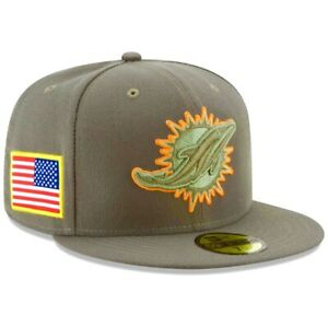 MIAMI DOLPHINS SALUTE TO SERVICE VETERAN MILITARY FITTED CAMO GREEN USA FLAG HAT