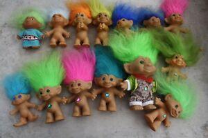 Lot of 14 Vintage 1990 Troll Dolls Russ Dam Thing Jewel Belly Uneeda Ace Novelty