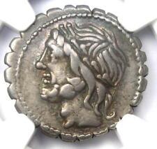Roman L. Scipio Asiagenius AR Denarius Serratus Silver Coin 106 BC - NGC VF