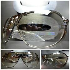 Men's Women CONTEMPORARY MODERN SHIELD Clear Lens SUN GLASSES Silver White Frame