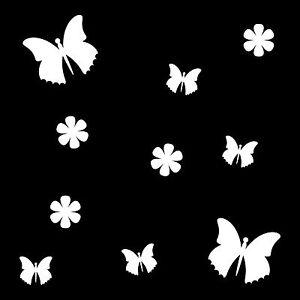10 Aufkleber Tattoo weiß Schmetterlinge & Blumen Auto Möbel Fenster Deko Folie
