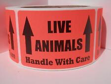 50 LIVE ANIMALS HANDLE WITH CARE 2x3 Sticker Label fluorescent red bkgd