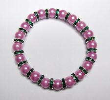 BRACELET WITH PINK  PEARL BEADS AND GREEN CRYSTAL SILVER RONDELLE SPACERS