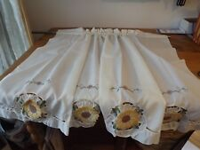 Pair Of Cafe Tiers Appliqued Sunflowers Ivory Rod Pocket Fan swag Listed Sep