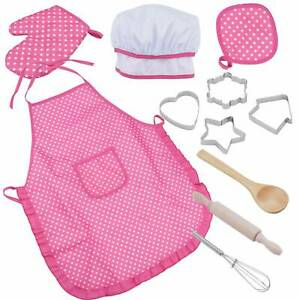 11x/Set Kids Chef Apron and Hat Children Kichen Cooking Baking Play Game Tool CN