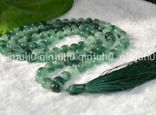 8 mm oración budista 108 Verde Jade Tíbet Beads Mala Collar meditación JN489