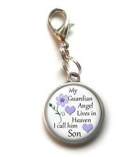 Clip On Charm SON My Guardian Angel In Heaven Memorial Charm Lobster Claw Clasp