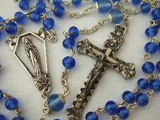 Vintage Catholic Rosary Sapphire Blue Glass Beads nice Crucifix & medal France