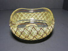 """Art Glass Decorated Bowl Clear Brown Tan Enamel Lattice Gold Trim Hand Made 6 """"D"""