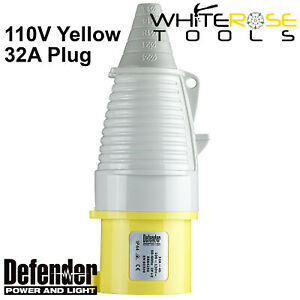 Defender 32A Plug Yellow 110V Electrical Industrial