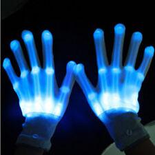 ICE BLUE Electro Skeleton LED Rave Raver Dance Gloves Rave Party Flashing Fun ~