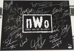 Hulk Hogan Scott Hall Sting Bret Hart Great Muta+ Signed NWO 16x20 Photo WWE WCW