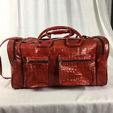 Red Leather Duffle Gym Overnight Travel Bag Carry On Tote Emna Medium