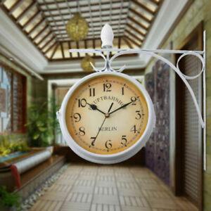 Reloj de Pared de Doble Cara de Estilo Vintage Retro Moderno Hierro Relojes