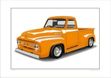 FORD 53'  F100 PICK UP TRUCK  LIMITED EDITION CAR DRAWING PRINT (5 CAR COLOURS)