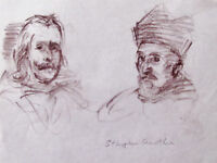 STEPHEN CROWTHER - SPAINISH GENTLEMEN - LISTED ARTIST DRAWING -FREE SHIP US  !!!