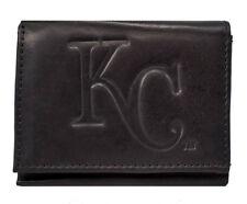 Kansas City Royals MLB Embossed Logo Black Leather Trifold Wallet