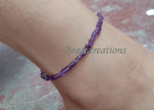 Amethyst Beads Anklet 925 Sterling Silver Christmas Gift For Her Jewelry