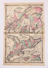 1864 Canada Map Montreal Quebec Railroads Lake Ontario Page ORIGINAL RARE
