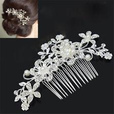 New Bridal Wedding Flower Crystal Rhinestones Diamante Pearls Hair Clip Comb CN