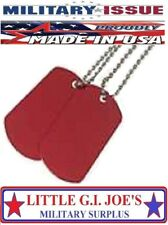 BLANK Dog Tags Set Red Finish Military Army & 1-Long & 1-Short Ball Chains