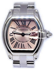 Cartier Roadster Stainless Steel Pink Dial Ladies Quartz Watch 2675
