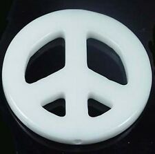 45mm White Agate Peace Sign Filigree Pendant Bead