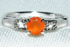 """MEXICAN FIRE OPAL /& DIAMONDS 9CT GOLD 18/"""" PENDANT JEWELLERS OLD STOCK SALE"""