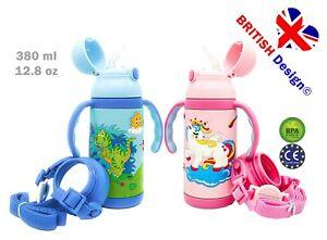 Kids Insulated Kids Water Bottles Flask Straw Leak Proof BPA Free  Handle Strap