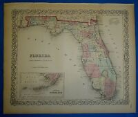 1859 Colton's Atlas Map ~ FLORIDA ~ Old Antique & Authentic Free S&H