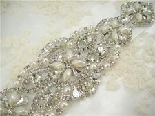 Handmade Crystal Beaded Rhinestone Bridal Applique Trim sash for Bridal Belt