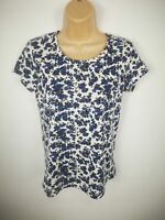 WOMENS JACK WILLS FLORAL WHITE BLUE SHORT SLEEVE SHIRT TSHIRT SIZE SMALL S