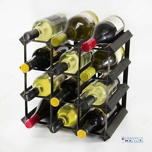 Cranville wine rack storage 12 bottle black stain wood and black metal assembled