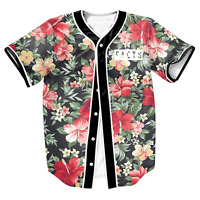 Facts Floral Print Baseball T-Shirt Football Varity Jersey Sports Raglan Tee Top