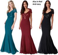 Goddiva Sequin Lace Chiffon Inserts Fishtail Sequin Maxi Dress Prom Party 8-14
