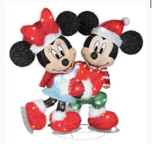 """30"""" CHRISTMAS LIGHTED 3-D TINSEL MICKEY MOUSE & MINNIE LICENSED YARD DECOR"""