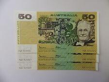 1985 $50 JOHNSTON/FRASER GOTHIC-RUN OF 3-UNCIRCULATED-YQX 925664-666.