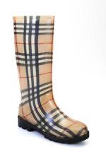 Burberry Womens Nova Check Plaid Rain Boots Brown Red Size 37 7