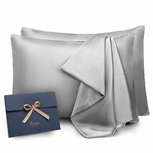 2 Pack Silk Pillowcase, Satin Blissy Pillowcase for Hair and Skin, Grey