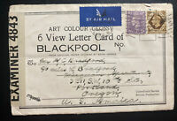1943 Gorton England View Letter Cards Censored Cover to Portland OR USA