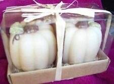 "Amscam Holiday ""Ivory Traditions"" 2 Pumpkin Candles - New in Original Box"