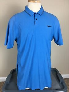 Nike Dri-Fit Blue Tiger Woods Collection Golf Polo Shirt Men's Size M