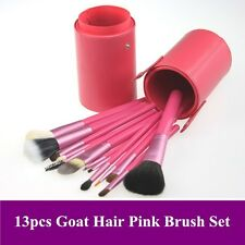 New Pro 13pcs high quality goat hair pink color makeup brushes set with cylinder