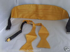 Yellow Polyester Self-tie Bow Tie & Cummerbund Set + Instruct> P&P 2UK>1st Class