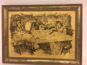 """Old Vintage Black Velvet Painting """" Four Women Doing Craft"""" 16""""x12"""""""