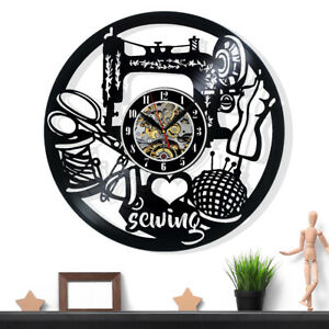 Sewing Vinyl Record Wall Clock Gift Surprise Ideas Friends Birthdays Decor Art