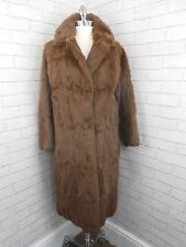 Vintage 1970s Ladies Long Toffee Brown Furrier Made Retro Real Fur Coat 14/16