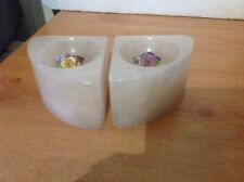 Alabaster Bookends Flower Design