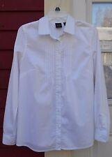 "RAFAELLA NWOT White Long Sleeved Pleated Pintuck Cotton Blend Shirt Medium (38"")"